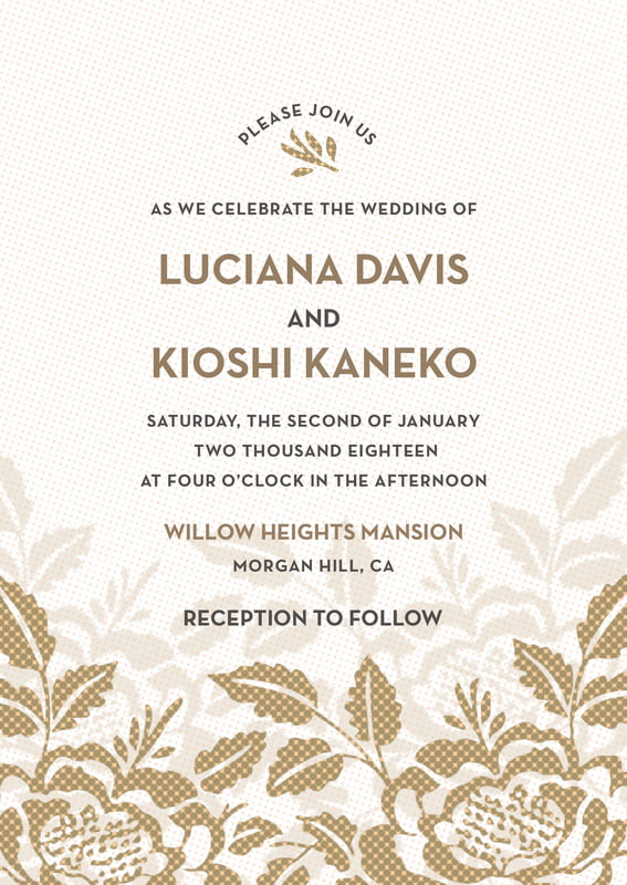 custom invitations - pale gold - whimsical romance (set of 10)