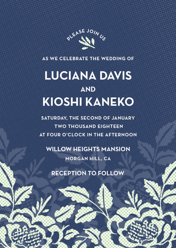 custom invitations - deep blue - whimsical romance (set of 10)
