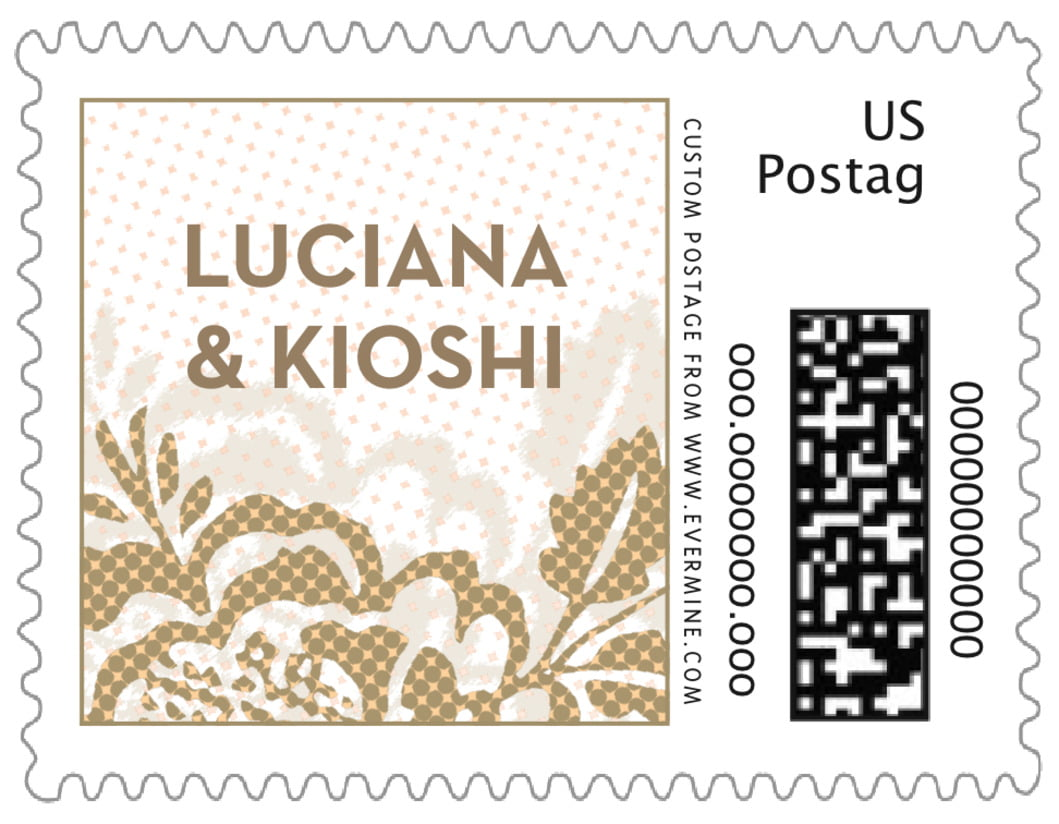 small custom postage stamps - pale gold - whimsical romance (set of 20)