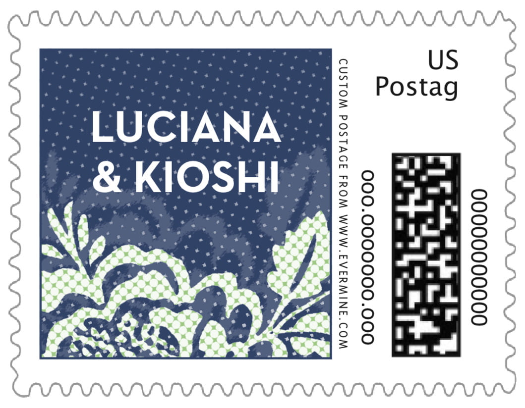 small custom postage stamps - deep blue - whimsical romance (set of 20)