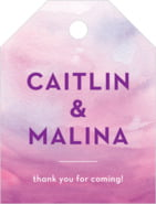 Watercolor Wash Small Luggage Tag In Radiant Orchid
