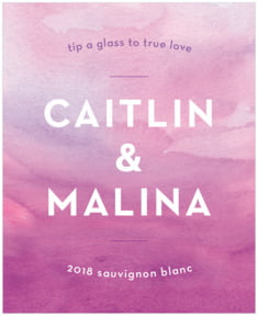 Watercolor Wash wedding wine labels