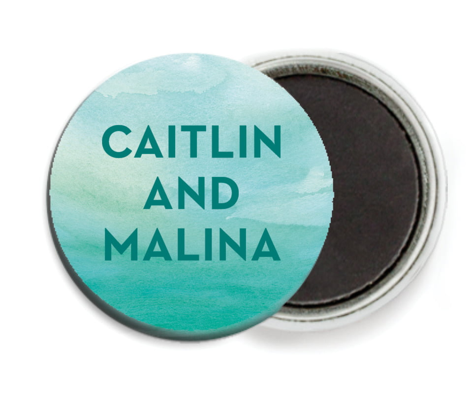 custom button magnets - turquoise - watercolor wash (set of 6)