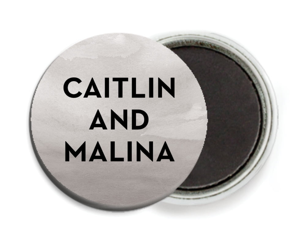 custom button magnets - charcoal - watercolor wash (set of 6)