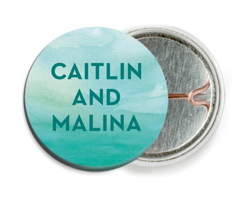 custom pin back buttons - turquoise - watercolor wash (set of 6)