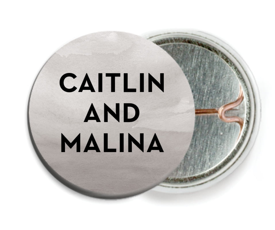 custom pin back buttons - charcoal - watercolor wash (set of 6)