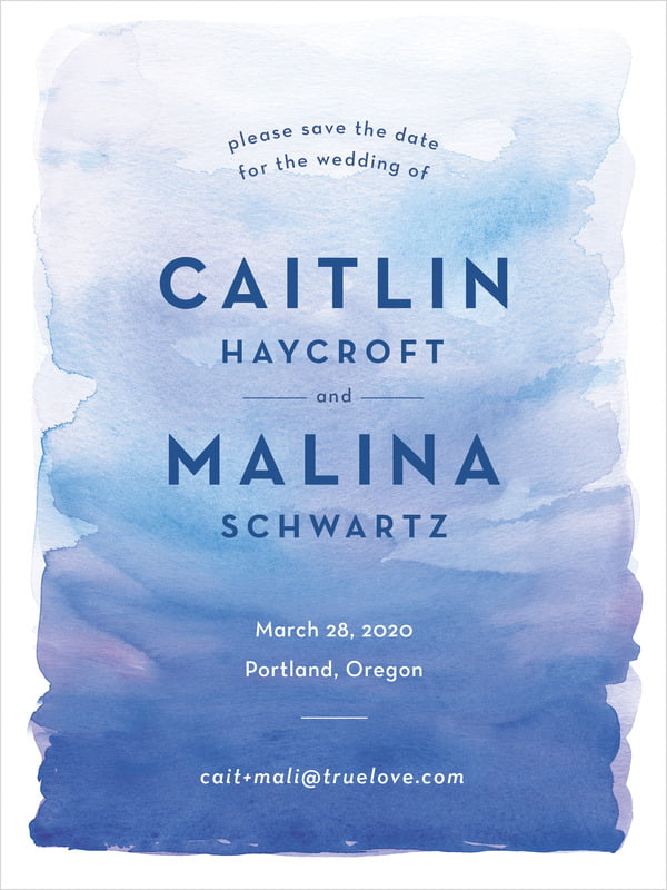 custom tall save the date cards - cobalt - watercolor wash (set of 10)