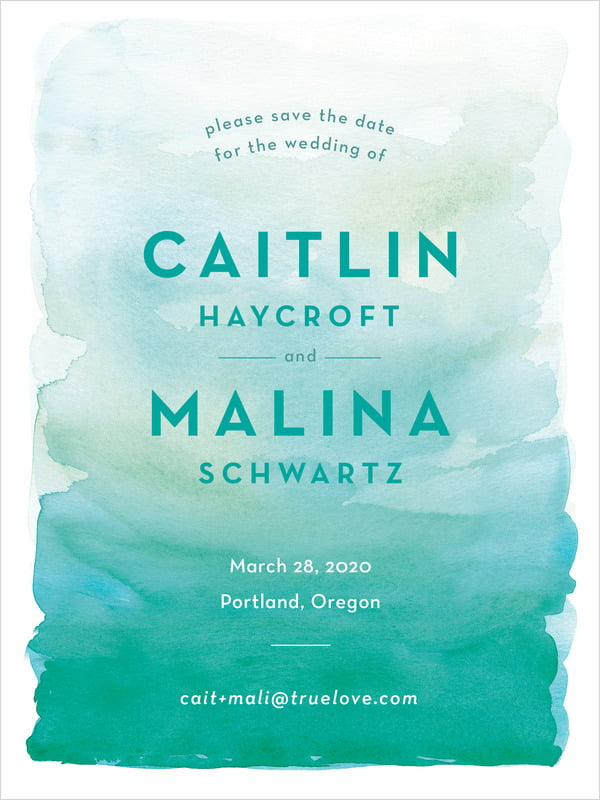 custom tall save the date cards - turquoise - watercolor wash (set of 10)