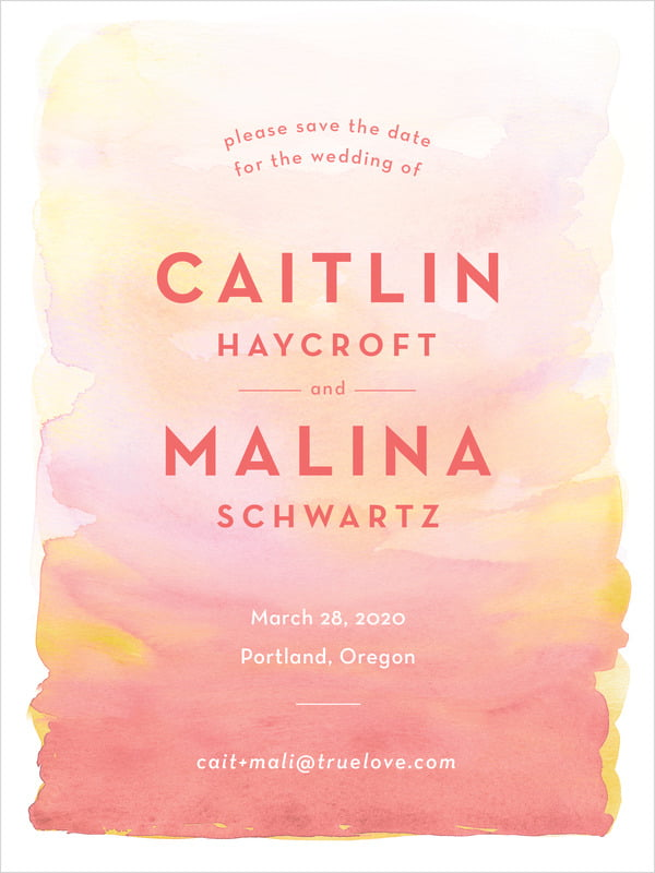 custom tall save the date cards - coral - watercolor wash (set of 10)