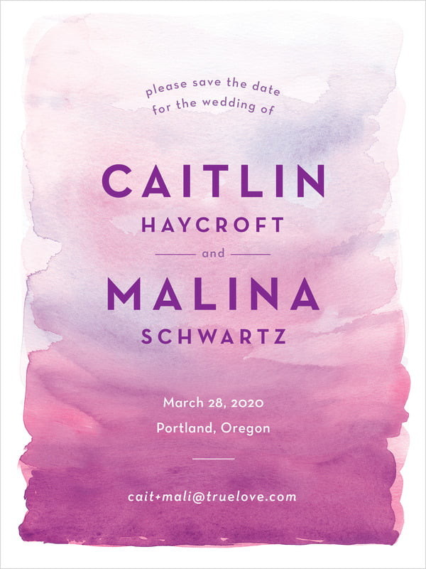 custom tall save the date cards - radiant orchid - watercolor wash (set of 10)