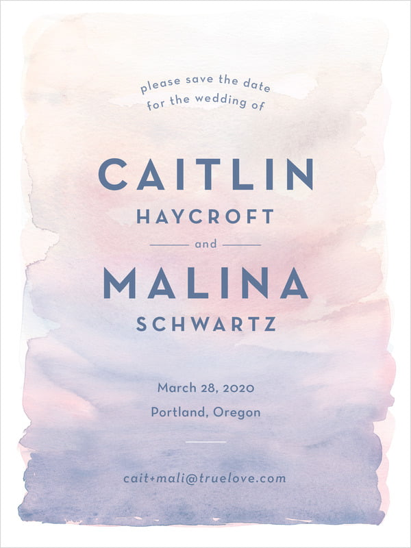 custom tall save the date cards - rose quartz/serenity - watercolor wash (set of 10)