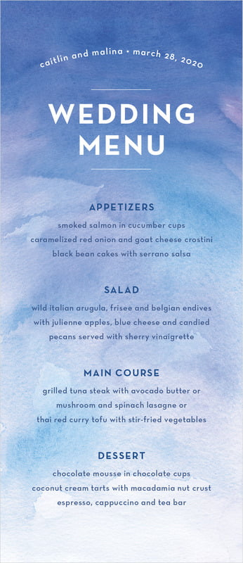 custom menus - cobalt - watercolor wash (set of 10)