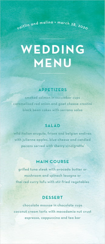 custom menus - turquoise - watercolor wash (set of 10)