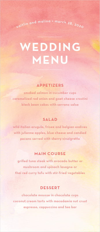 custom menus - coral - watercolor wash (set of 10)