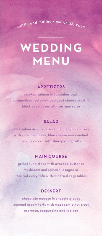 custom menus - radiant orchid - watercolor wash (set of 10)