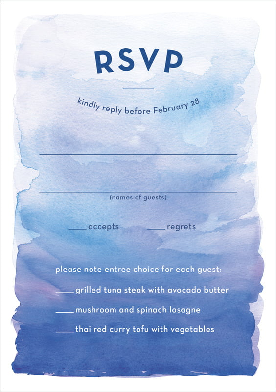 custom tall response cards - cobalt - watercolor wash (set of 10)