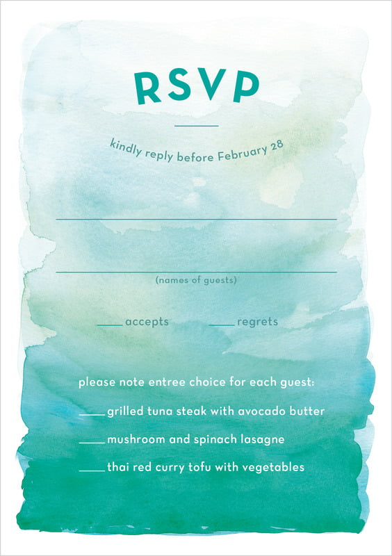 custom tall response cards - turquoise - watercolor wash (set of 10)