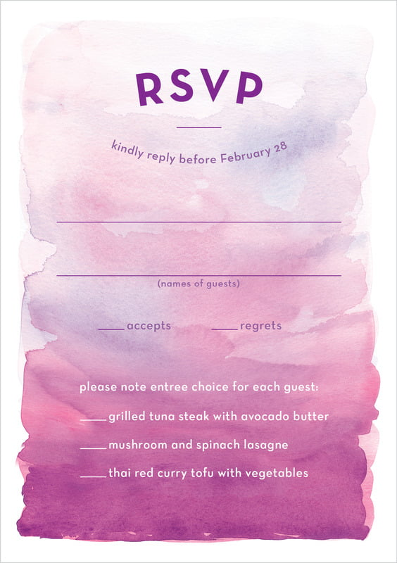 custom tall response cards - radiant orchid - watercolor wash (set of 10)
