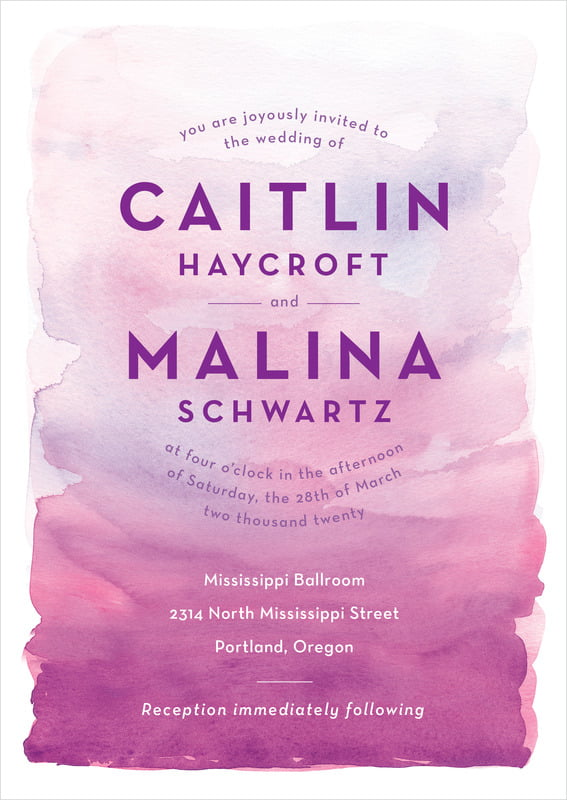 custom invitations - radiant orchid - watercolor wash (set of 10)