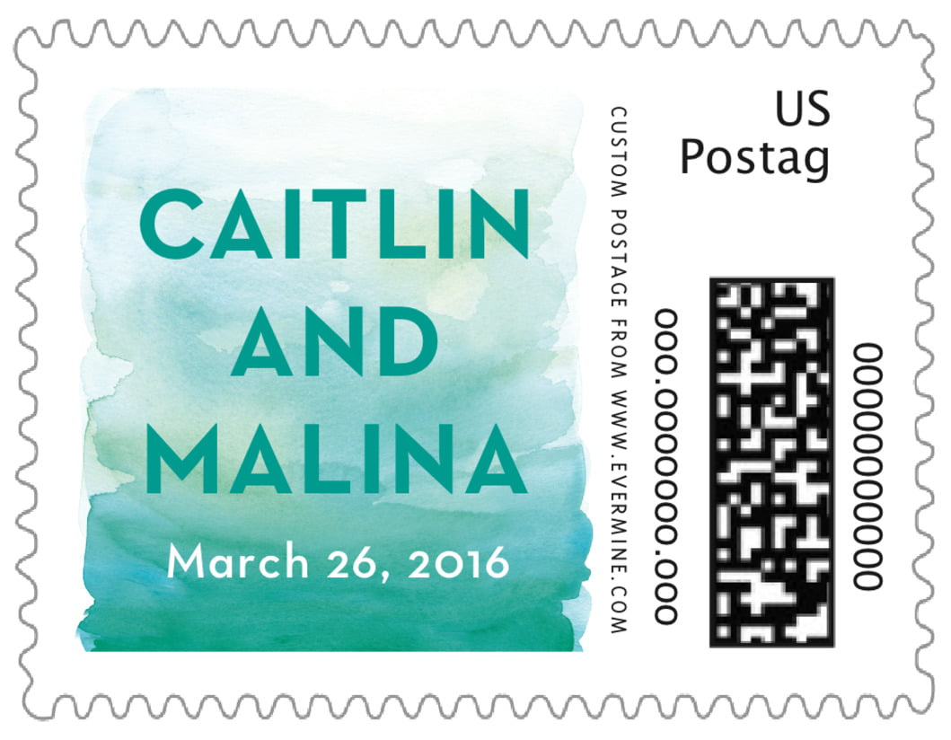 small custom postage stamps - turquoise - watercolor wash (set of 20)