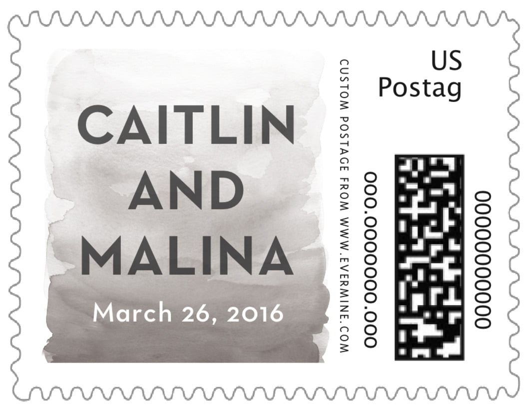 small custom postage stamps - charcoal - watercolor wash (set of 20)