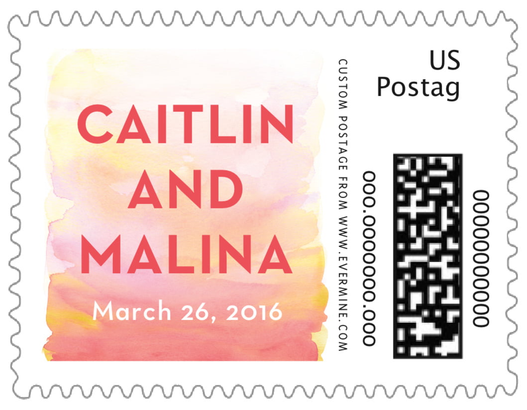 small custom postage stamps - coral - watercolor wash (set of 20)