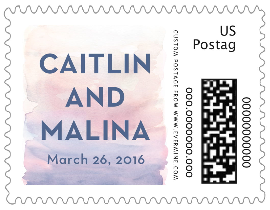 small custom postage stamps - rose quartz/serenity - watercolor wash (set of 20)