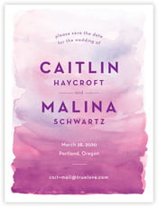 Watercolor Wash Save The Date Card In Radiant Orchid