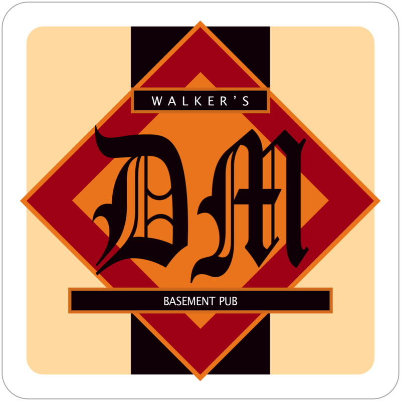square beer coasters - red, black & gold - walker (set of 12)
