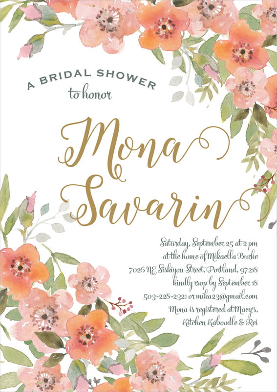 baby shower invitations - coral - watercolor blooms (set of 10)