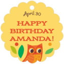 Woodland Owl kid/teen birthday tags