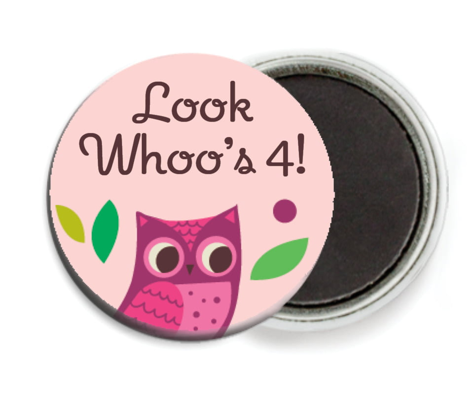 custom button magnets - pink - woodland owl (set of 6)