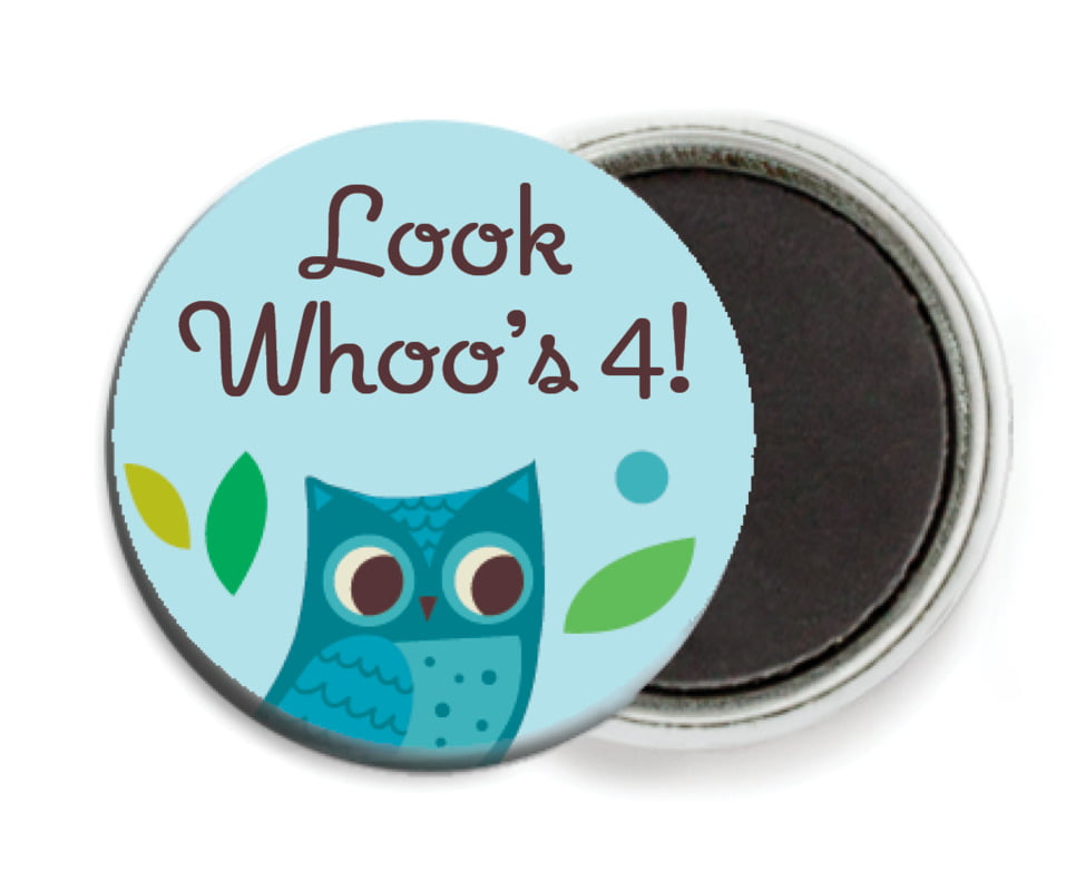 custom button magnets - aruba - woodland owl (set of 6)