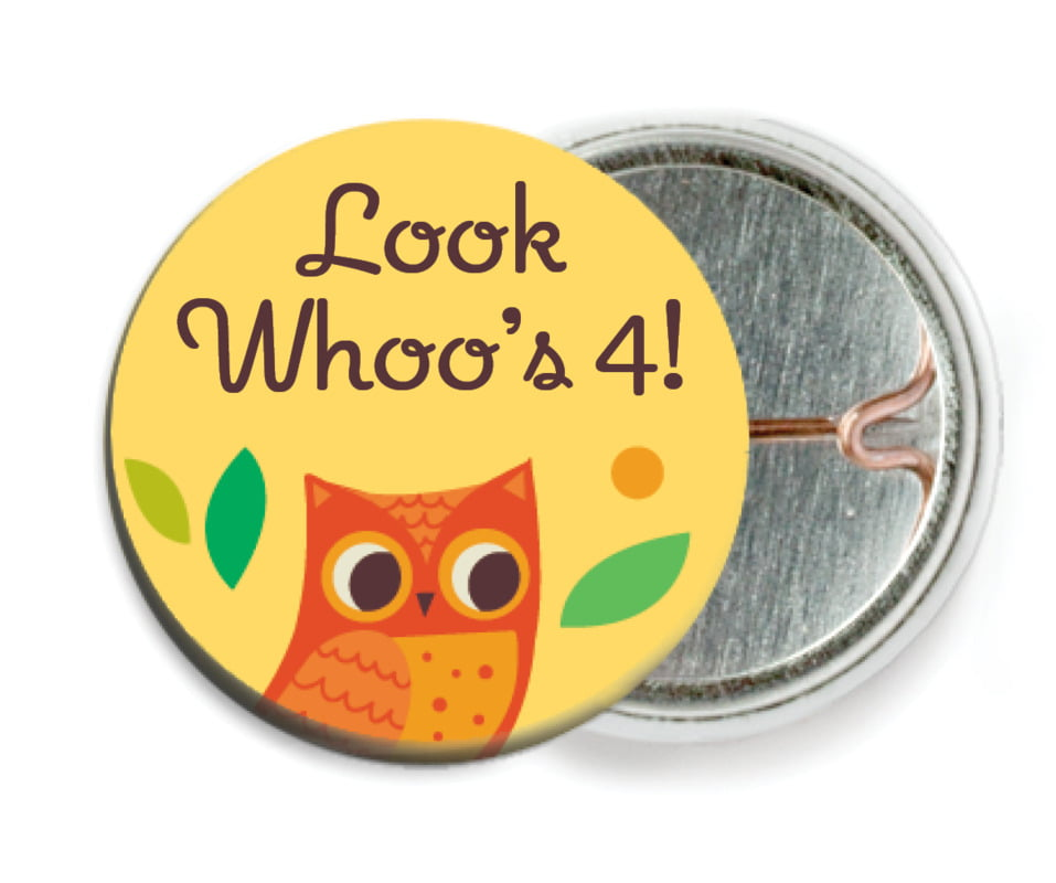 custom pin back buttons - sunburst - woodland owl (set of 6)