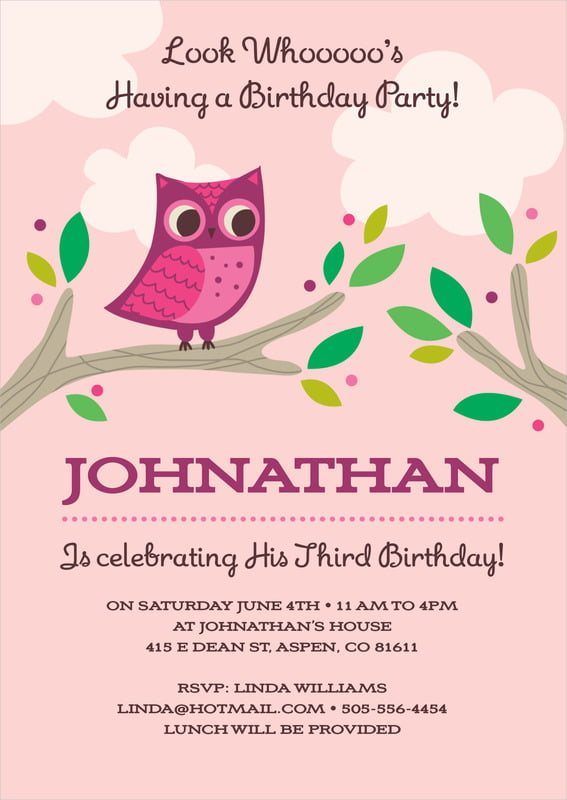 baby shower invitations - pink - woodland owl (set of 10)