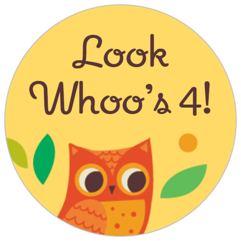 small circle food/craft labels - sunburst - woodland owl (set of 70)