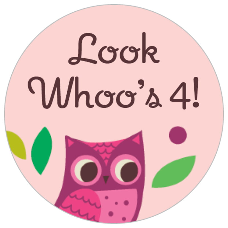 small circle food/craft labels - pink - woodland owl (set of 70)
