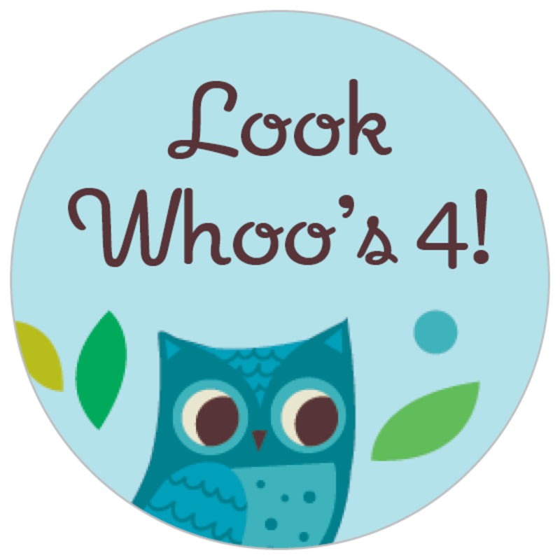 small circle food/craft labels - aruba - woodland owl (set of 70)