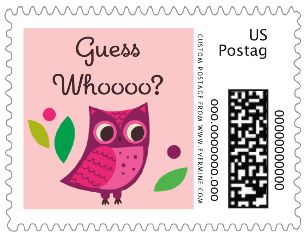 small custom postage stamps - pink - woodland owl (set of 20)