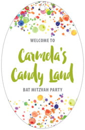 Watercolor Droplets bar/bat mitzvah tags