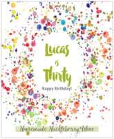 Watercolor Droplets birthday wine labels