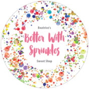 Watercolor Droplets Round Coaster In Pink
