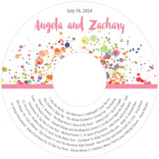 Watercolor Droplets Cd Label In Pink