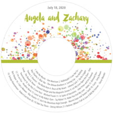 Watercolor Droplets wedding CD/DVD labels