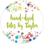 Watercolor Droplets Circle Label In Lime