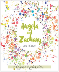 Watercolor Droplets Large Label In Lime
