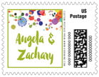 Watercolor Droplets wedding postage stamps
