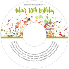 Watercolor Droplets Cd Label In Lime