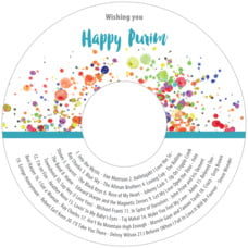 Watercolor Droplets Cd Label In Turquoise