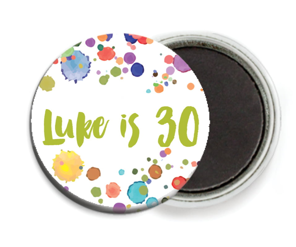 custom button magnets - lime - watercolor droplets (set of 6)